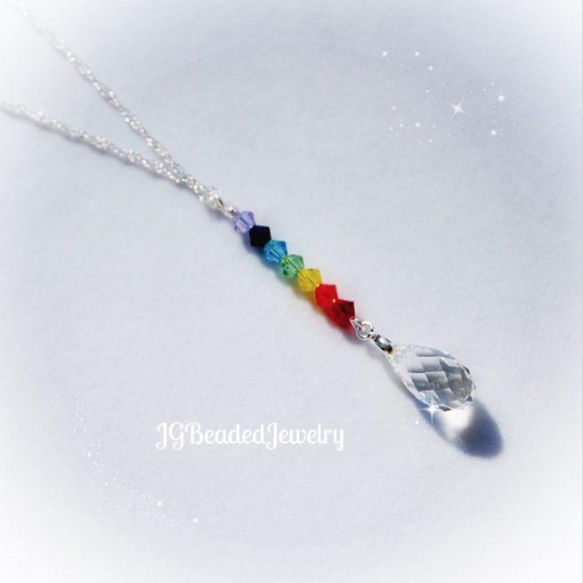 Swarovski Crystal Drop Chakra Neckace