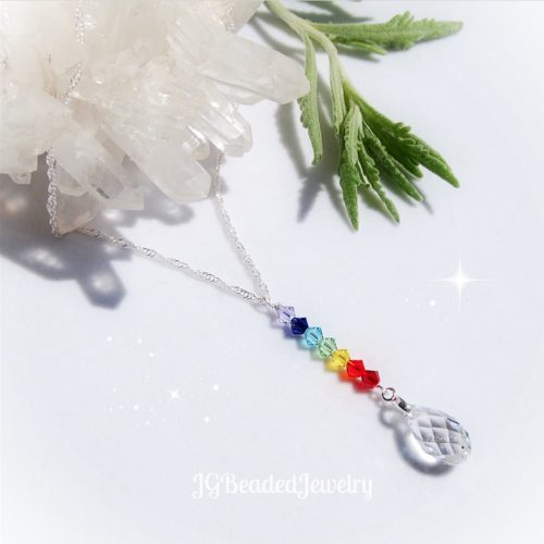 Swarovski Crystal Drop Chakra Necklace