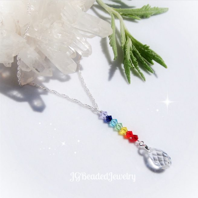 Swarovski Crystal Drop Chakra Necklace