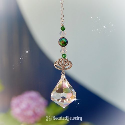 Swarovski Diamond Lotus Green Crystal Suncatcher