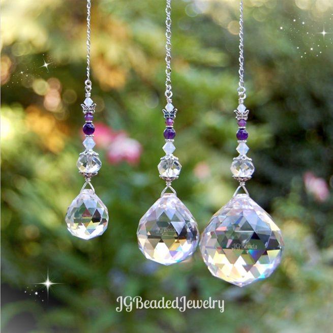Amethyst Opal Butterfly Crystal Suncatcher