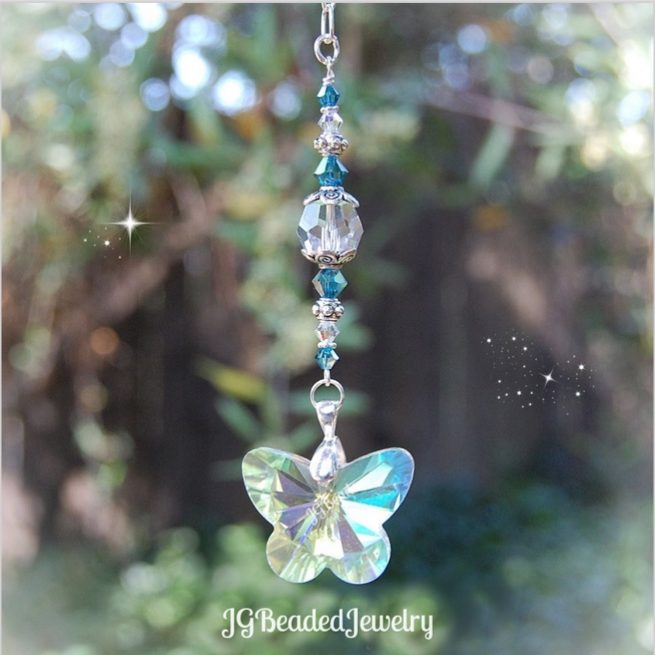 Indicolite Blue Butterfly Crystal Suncatcher