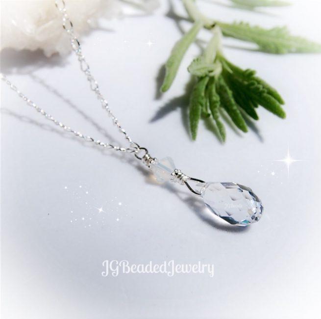 Opal Swarovski Crystal Drop Necklace