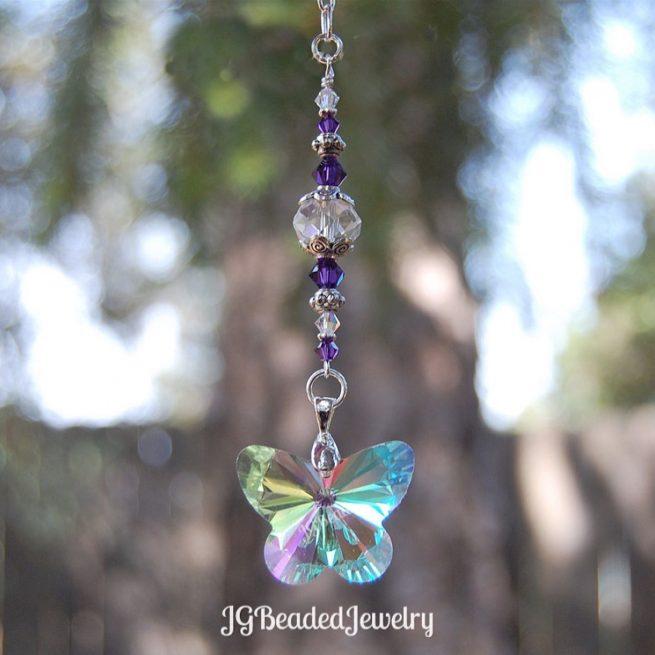 Purple Swarovski and Butterfly Crystal Suncatcher
