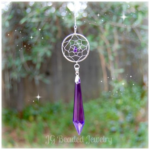 Purple Teardrop Amethyst Dreamcatcher