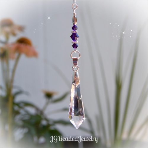 Deep Purple Teardrop Crystal Suncatcher