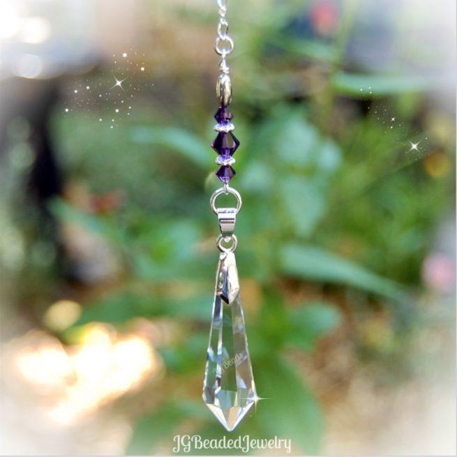 Deep Purple Teardrop Crystal Suncatcher