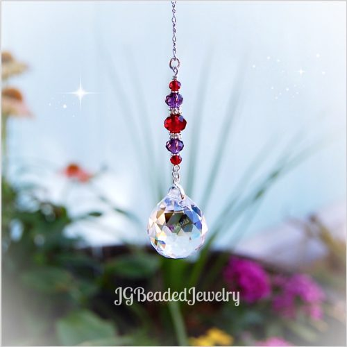 Red and Purple Prism Crystal Suncatcher