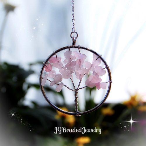 Rose Quartz Gemstone Tree of Life