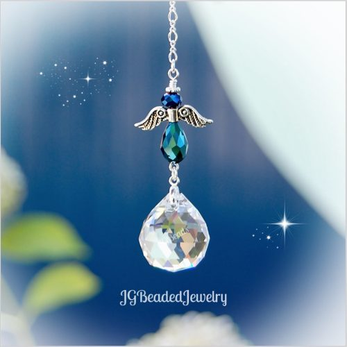 Blue Iris Angel Crystal Suncatcher