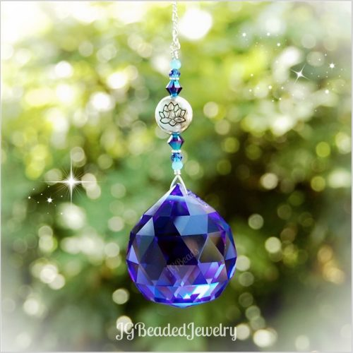 Cobalt Blue Lotus Prism Crystal Suncatcher