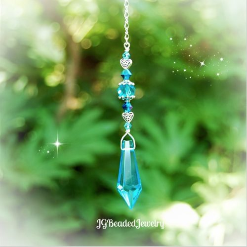 Blue Teardrop Celtic Heart Crystal Suncatcher