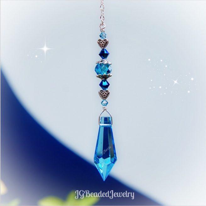 Blue Teardrop Celtic Heart Crystal Suncatcher