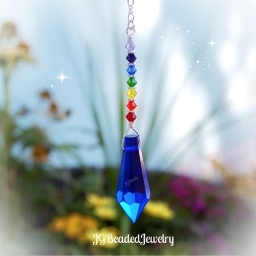 Blue Teardrop Chakra Crystal Suncatcher