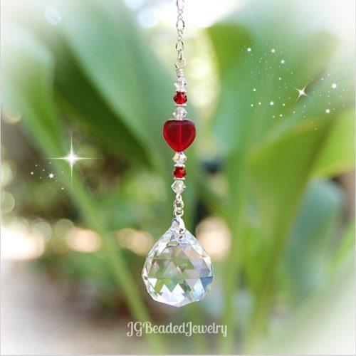 Hanging Heart Crystal Suncatcher