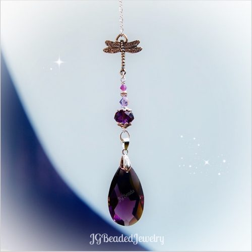 Deep Purple Dragonfly Crystal Suncatcher