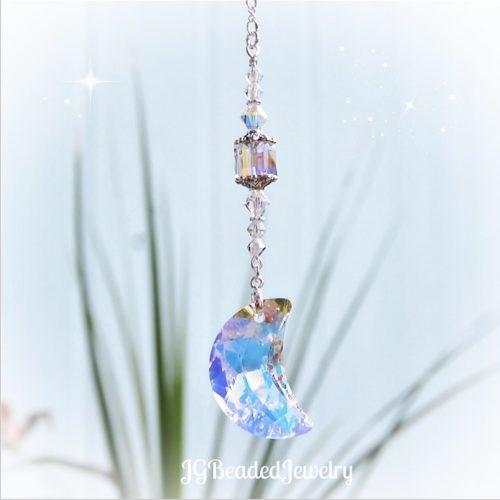 Hanging Moon Swarovski Crystal Suncatcher