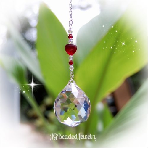 Hanging Heart Prism Crystal Suncatcher