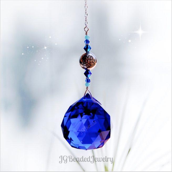 Cobalt Blue Lotus Prism Crystal Suncatcher