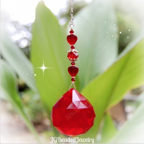 Red Heart Prism Crystal Suncatcher