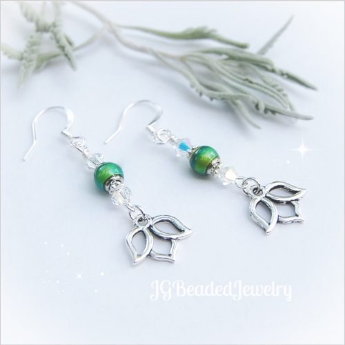 Lotus Swarovski Mood Bead Earrings