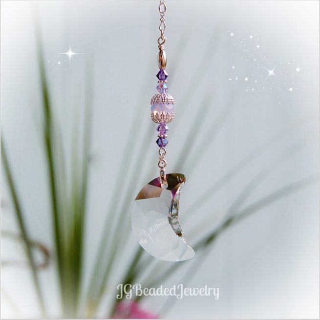 Pink Opal Purple Moon Swarovski Crystal Suncatcher