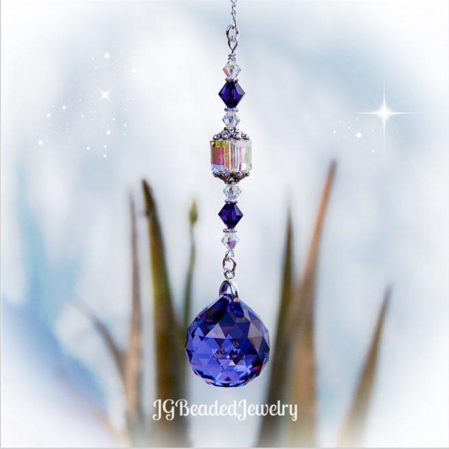 Purple Swarovski Crystal Suncatcher