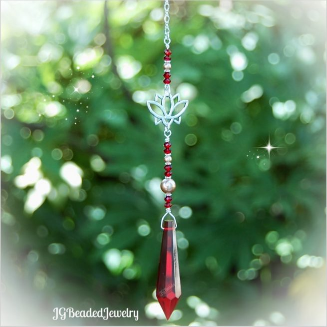 Lotus Red Teardrop Crystal Suncatcher