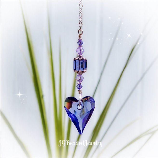 Swarovski Tanzanite Purple Heart Crystal Suncatcher