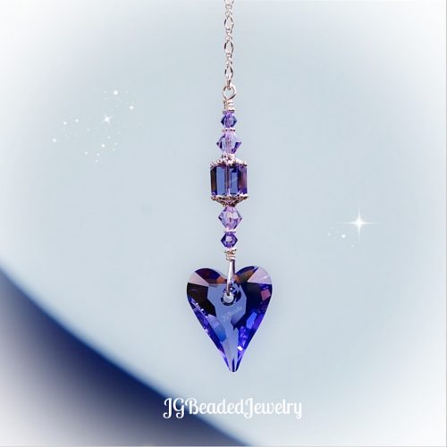 Swarovski Tanzanite Purple Heart Crystal Suncatcher