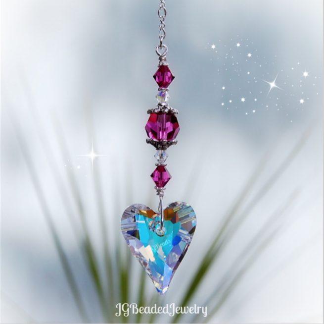 Fuchsia Swarovski Crystal Heart Suncatcher Decoration