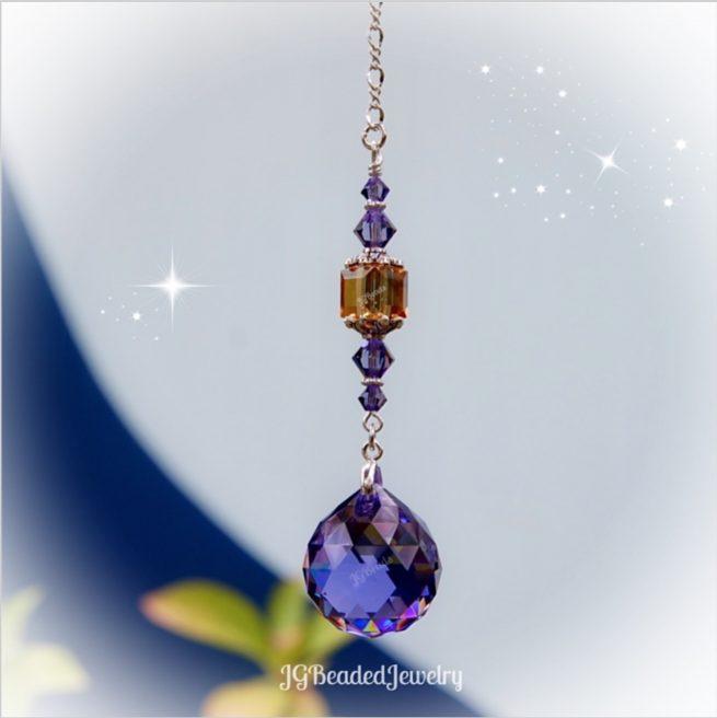 Golden Topaz Purple Swarovski Crystal Suncatcher