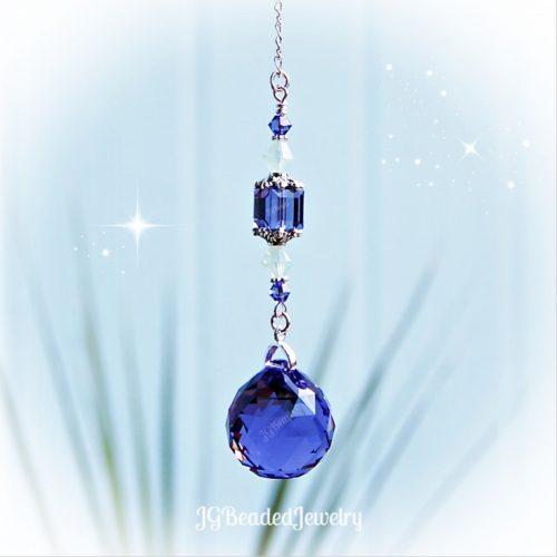 Green Opal Purple Swarovski Crystal Suncatcher