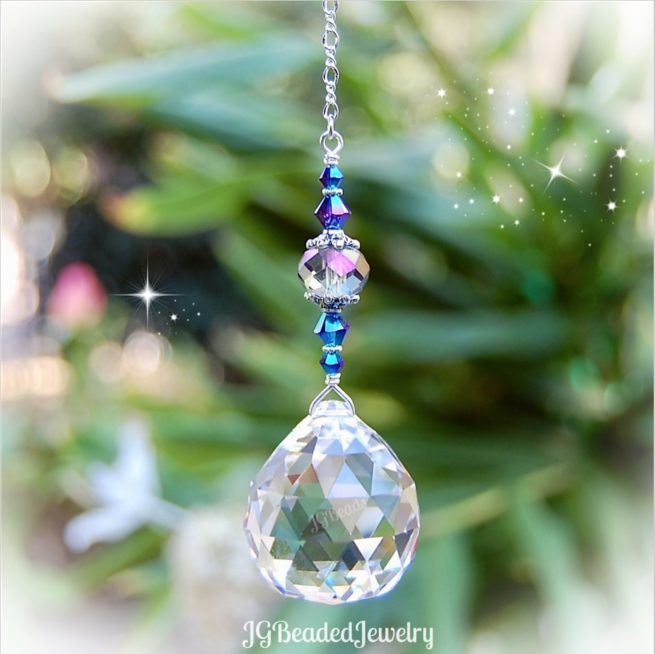 Iris Blue Gray Hanging Crystal Suncatcher Prism