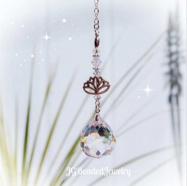 Lotus Opal Crystal Suncatcher