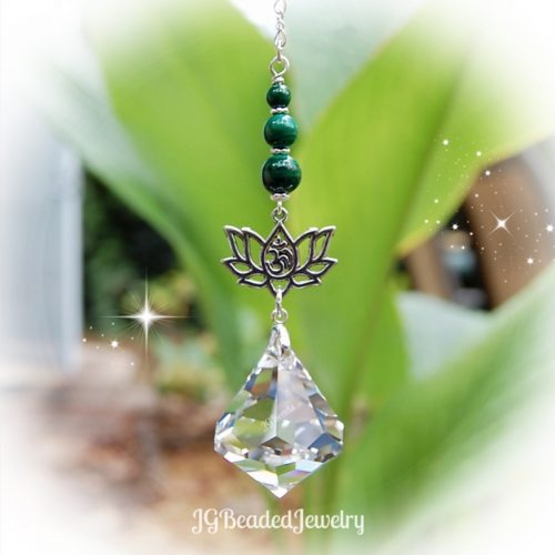 Malachite Om Lotus Diamond Swarovski Crystal Suncatcher