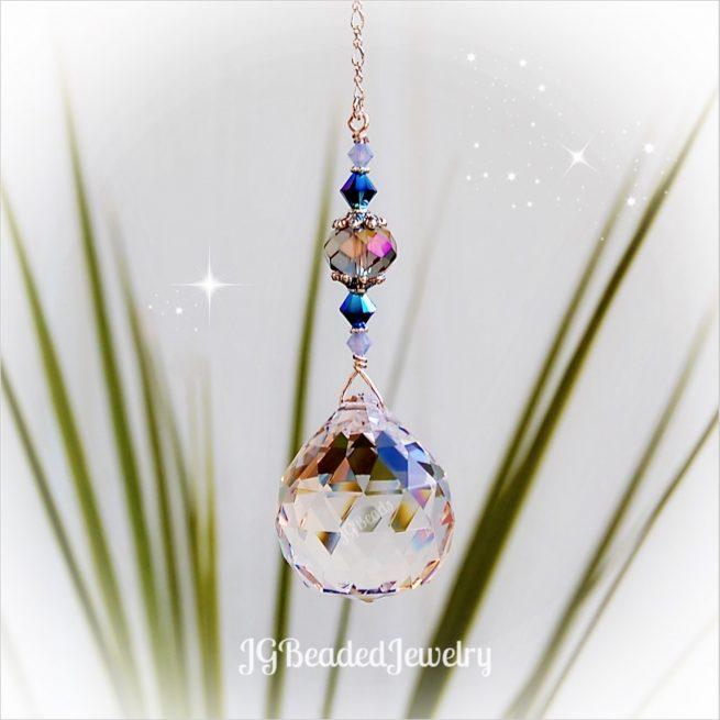 Opal Blue Iris Crystal Suncatcher