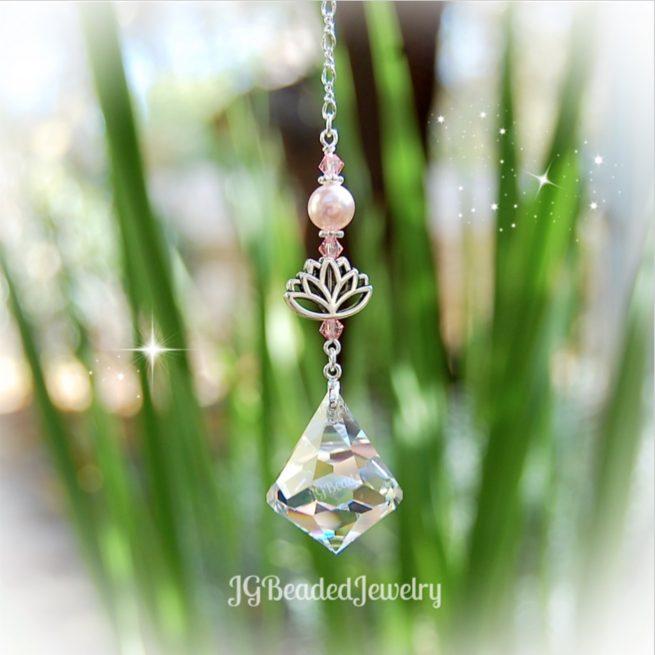 Pink Lotus Swarovski Diamond Crystal Suncatcher