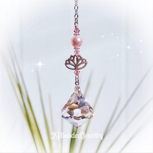 Pink Lotus Diamond Swarovski Crystal Suncatcher