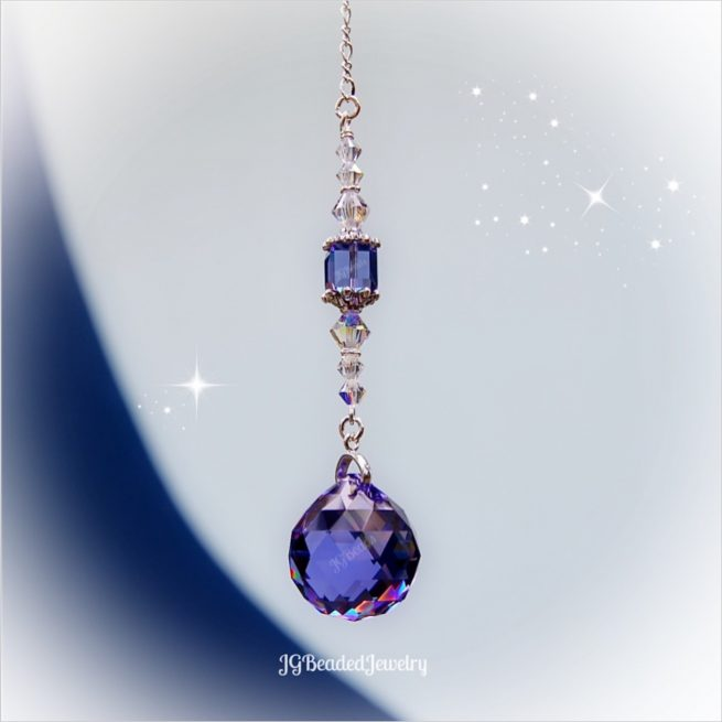 Purple Iridescent Swarovski Crystal Suncatcher