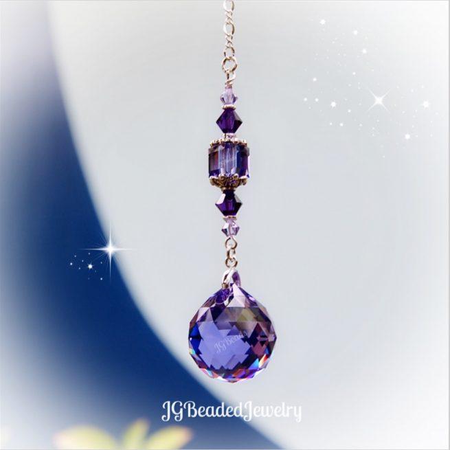 Violet Tanzanite Purple Iridescent Swarovski Crystal Suncatcher