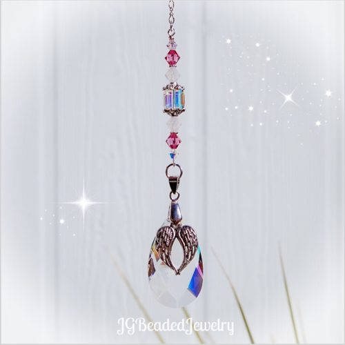 Angel Wing Pink Opal Suncatcher