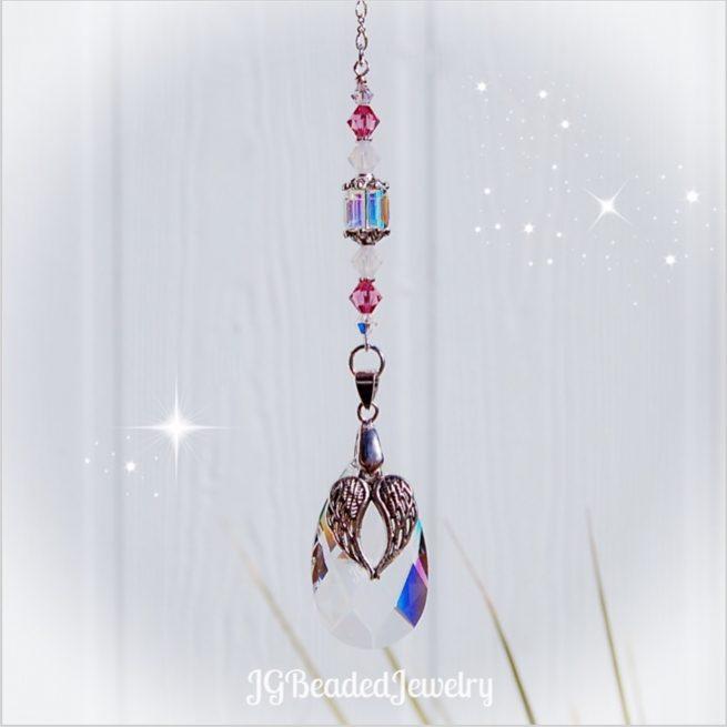 Angel Wing Pink Opal Suncatcher