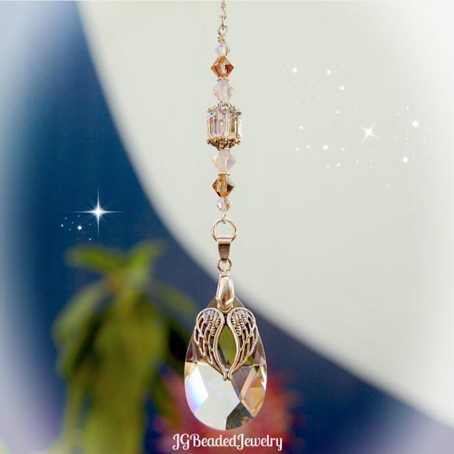 Angel Wing Topaz Opal Suncatcher