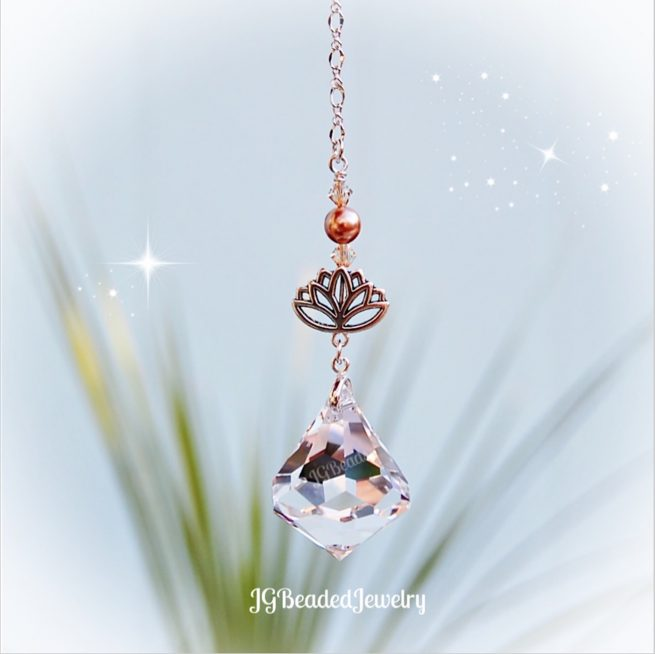 Golden Topaz Lotus Diamond Swarovski Crytal Suncatcher
