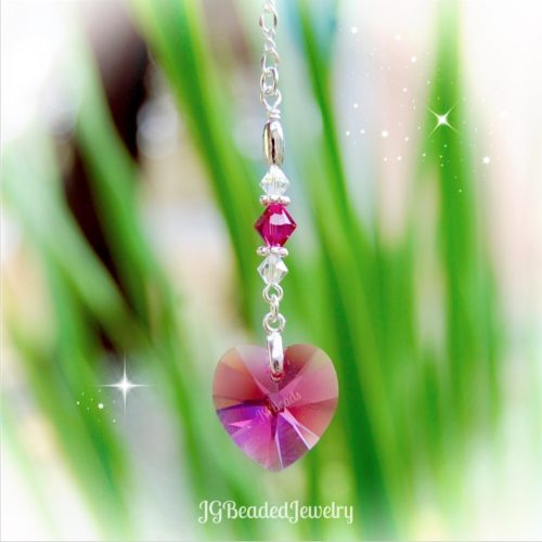 Hot Pink Heart Swarovski Crystal
