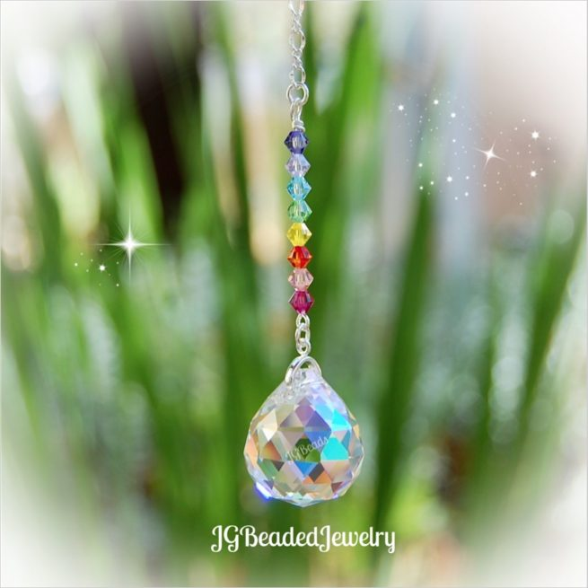 Pastel Rainbow Crystal Ball Suncatcher
