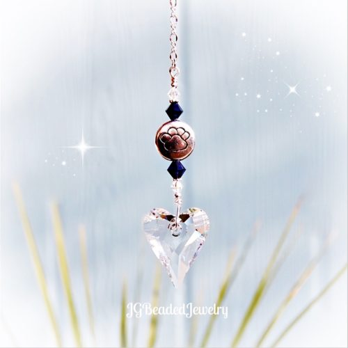 Paw Heart Indigo Swarovski Crystal Suncatcher