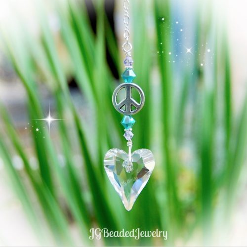 Peace and Love Turquoise Lavender Heart Crystal Suncatcher