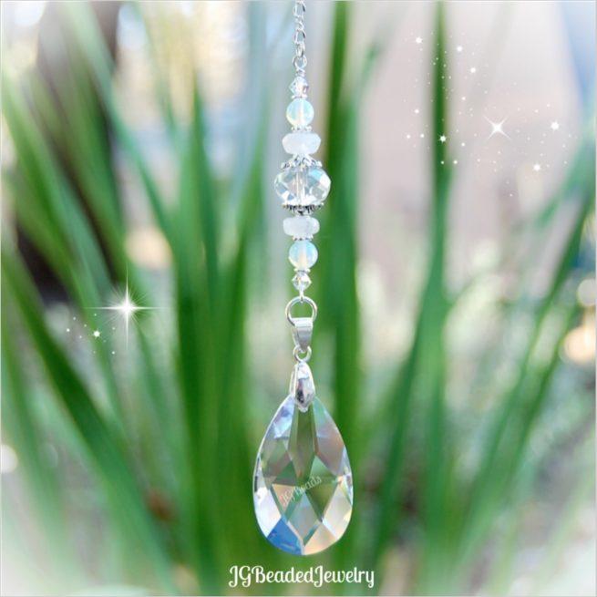 Rainbow Moonstone Sea Opal Crystal Suncatcher